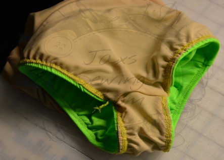 Crotch sewn so that seams are inside lining wm